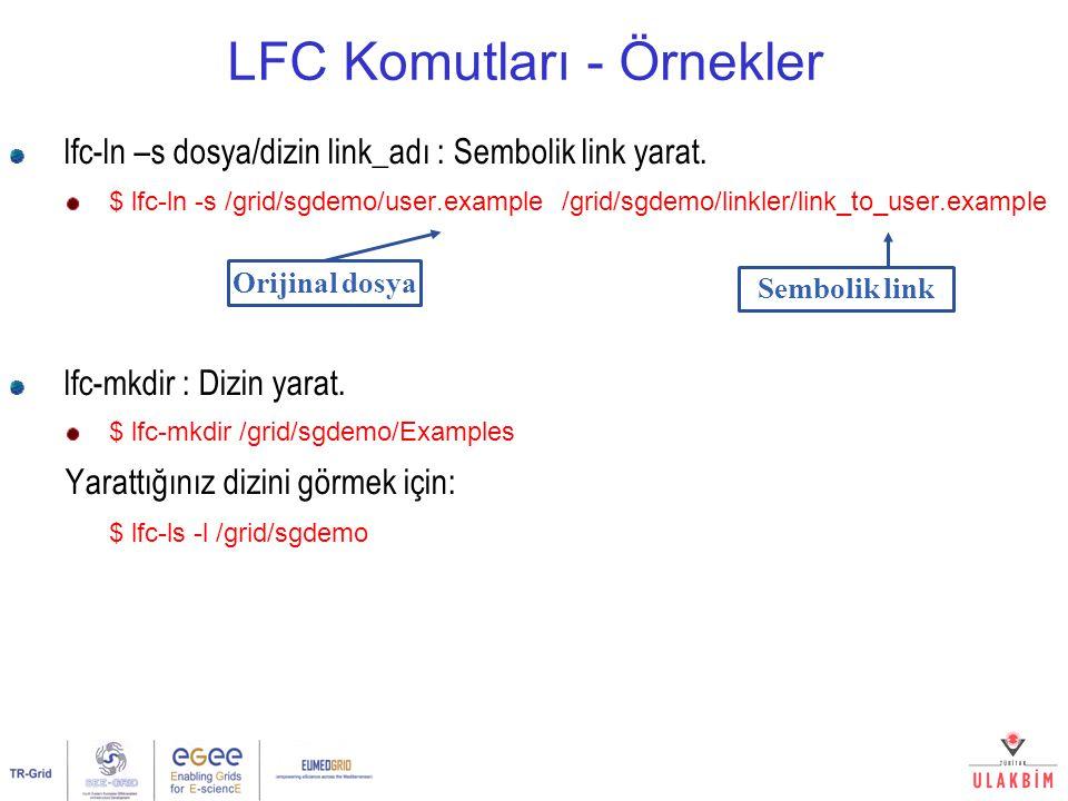 LFC Komutları - Örnekler lfc-ln –s dosya/dizin link_adı : Sembolik link yarat. $ lfc-ln -s /grid/sgdemo/user.example /grid/sgdemo/linkler/link_to_user