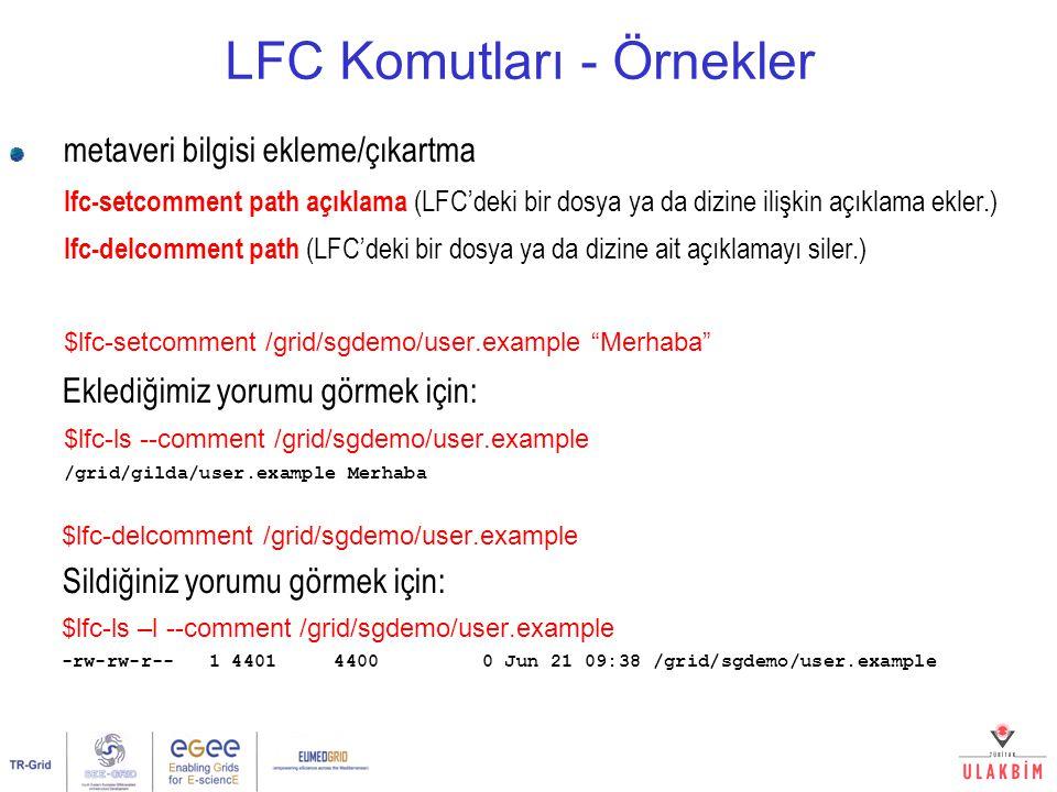 LFC Komutları - Örnekler metaveri bilgisi ekleme/çıkartma lfc-setcomment path açıklama (LFC'deki bir dosya ya da dizine ilişkin açıklama ekler.) lfc-d
