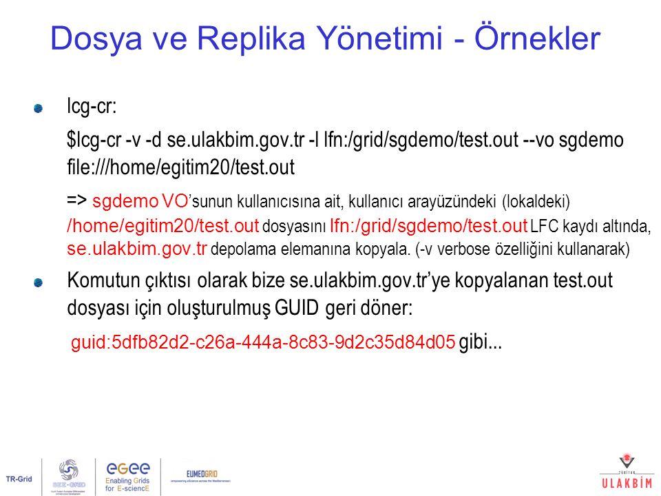 Dosya ve Replika Yönetimi - Örnekler lcg-cr: $lcg-cr -v -d se.ulakbim.gov.tr -l lfn:/grid/sgdemo/test.out --vo sgdemo file:///home/egitim20/test.out =