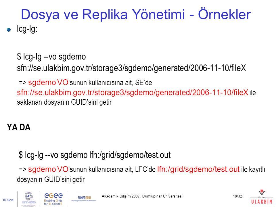 Akademik Bilişim 2007, Dumlupınar Üniversitesi18/32 Dosya ve Replika Yönetimi - Örnekler lcg-lg: $ lcg-lg --vo sgdemo sfn://se.ulakbim.gov.tr/storage3