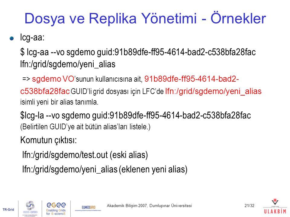Akademik Bilişim 2007, Dumlupınar Üniversitesi21/32 Dosya ve Replika Yönetimi - Örnekler lcg-aa: $ lcg-aa --vo sgdemo guid:91b89dfe-ff95-4614-bad2-c53