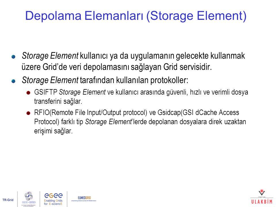 Depolama Elemanları (Storage Element) Storage Element kullanıcı ya da uygulamanın gelecekte kullanmak üzere Grid'de veri depolamasını sağlayan Grid se