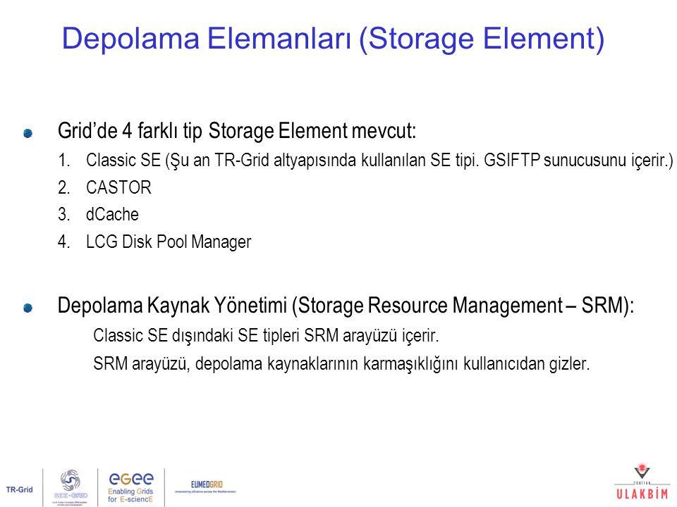 Depolama Elemanları (Storage Element) Grid'de 4 farklı tip Storage Element mevcut: 1.Classic SE (Şu an TR-Grid altyapısında kullanılan SE tipi. GSIFTP