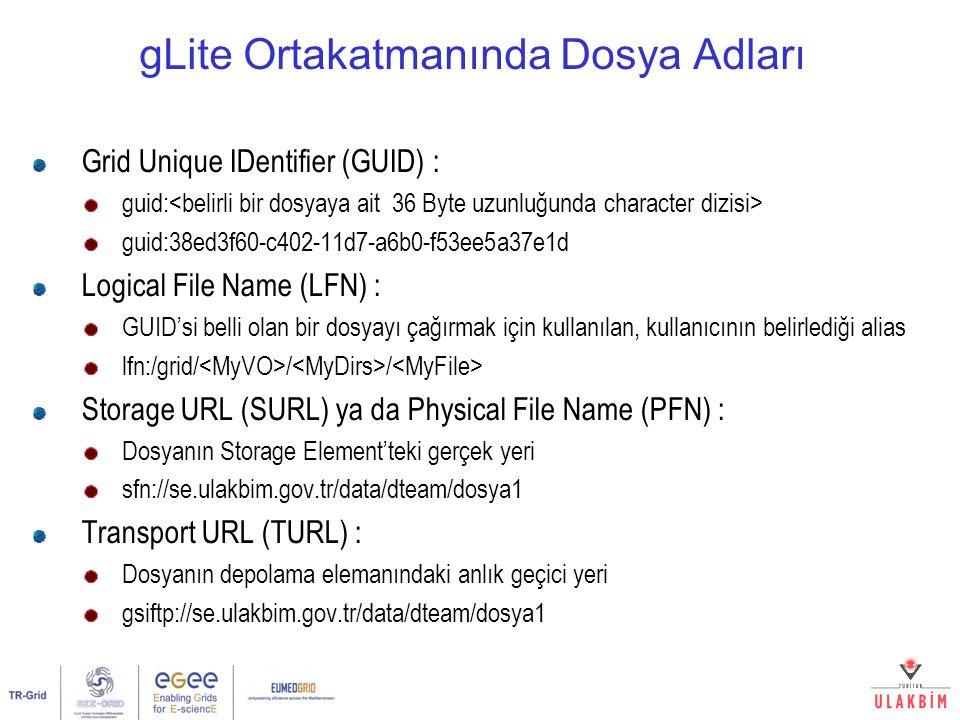 gLite Ortakatmanında Dosya Adları Grid Unique IDentifier (GUID) : guid: guid:38ed3f60-c402-11d7-a6b0-f53ee5a37e1d Logical File Name (LFN) : GUID'si be