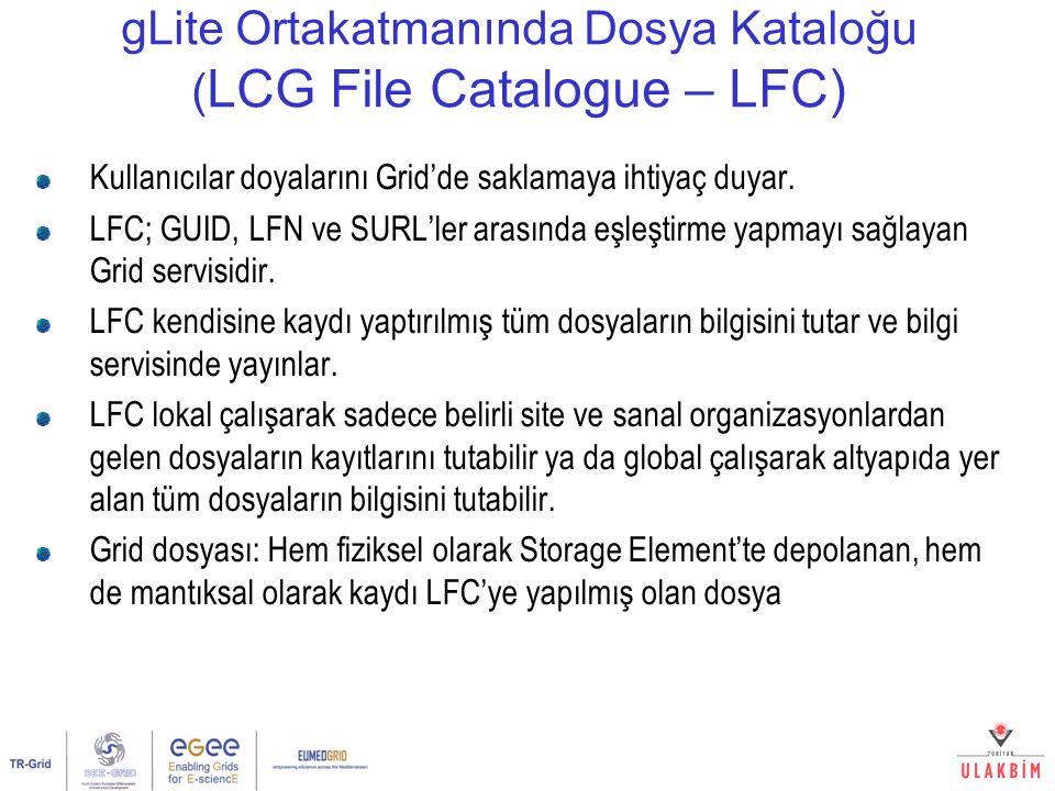 gLite Ortakatmanında Dosya Kataloğu ( LCG File Catalogue – LFC) Kullanıcılar doyalarını Grid'de saklamaya ihtiyaç duyar. LFC; GUID, LFN ve SURL'ler ar