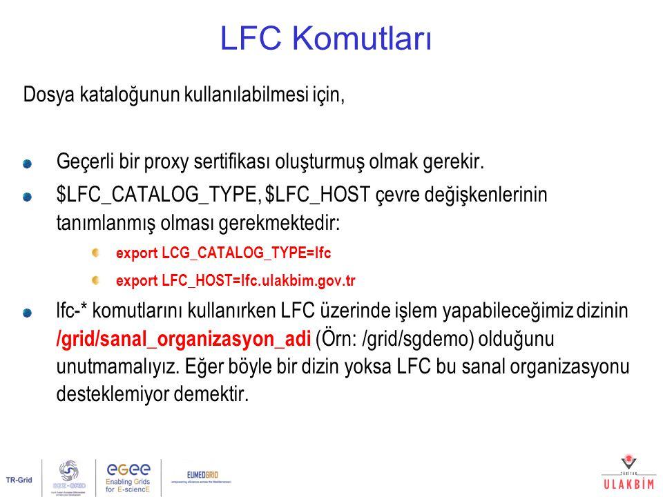 LFC Komutları Dosya kataloğunun kullanılabilmesi için, Geçerli bir proxy sertifikası oluşturmuş olmak gerekir. $LFC_CATALOG_TYPE, $LFC_HOST çevre deği