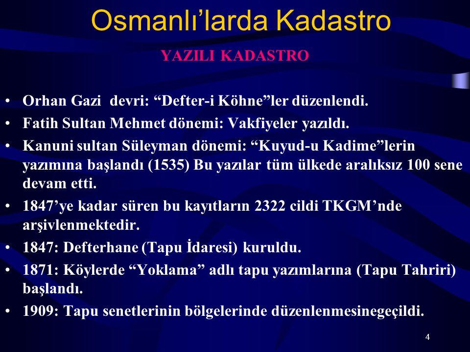 """Osmanlı'larda Kadastro YAZILI KADASTRO Orhan Gazi devri: """"Defter-i Köhne""""ler düzenlendi. Fatih Sultan Mehmet dönemi: Vakfiyeler yazıldı. Kanuni sultan"""