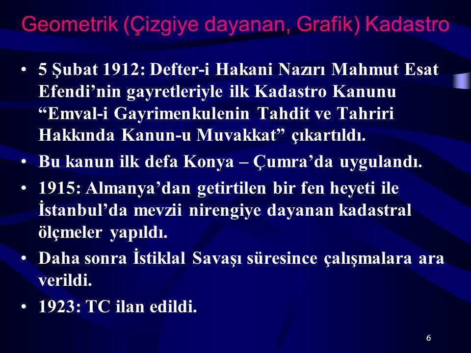 """Geometrik (Çizgiye dayanan, Grafik) Kadastro 5 Şubat 1912: Defter-i Hakani Nazırı Mahmut Esat Efendi'nin gayretleriyle ilk Kadastro Kanunu """"Emval-i Ga"""