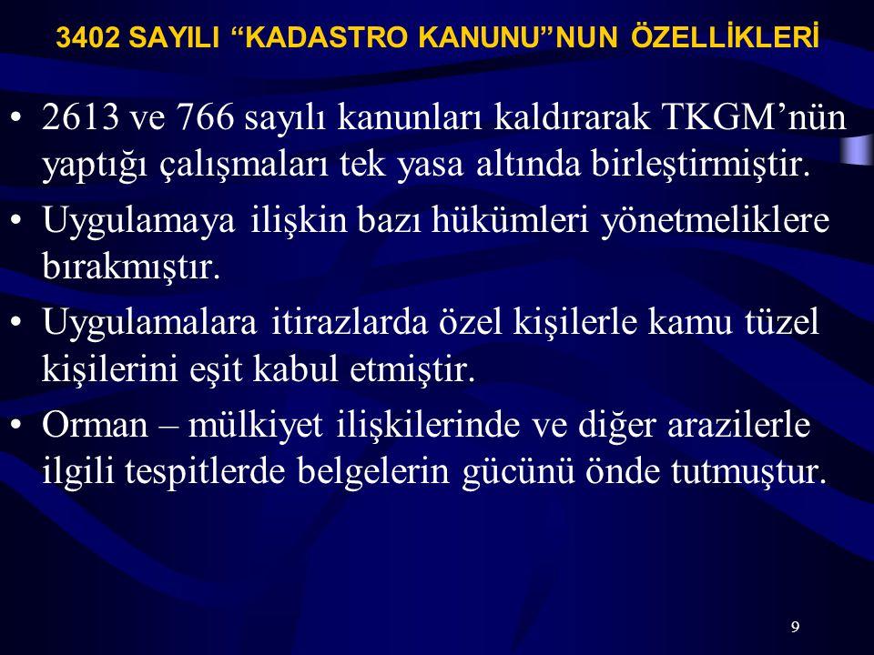 """3402 SAYILI """"KADASTRO KANUNU""""NUN ÖZELLİKLERİ 2613 ve 766 sayılı kanunları kaldırarak TKGM'nün yaptığı çalışmaları tek yasa altında birleştirmiştir. Uy"""