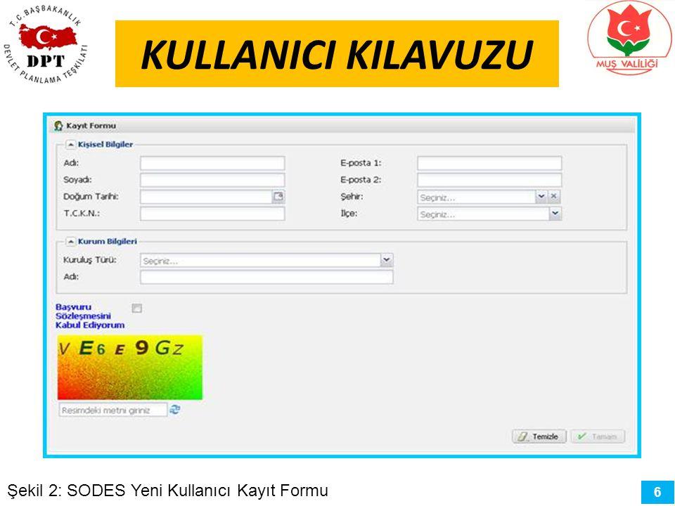 6 KULLANICI KILAVUZU Şekil 2: SODES Yeni Kullanıcı Kayıt Formu