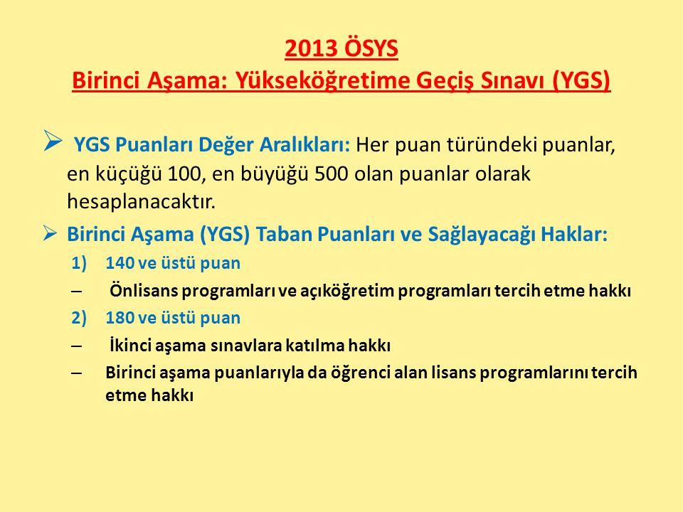 2013 ÖSYS Birinci Aşama: Yükseköğretime Geçiş Sınavı (YGS)  YGS Puanları Değer Aralıkları: Her puan türündeki puanlar, en küçüğü 100, en büyüğü 500 o