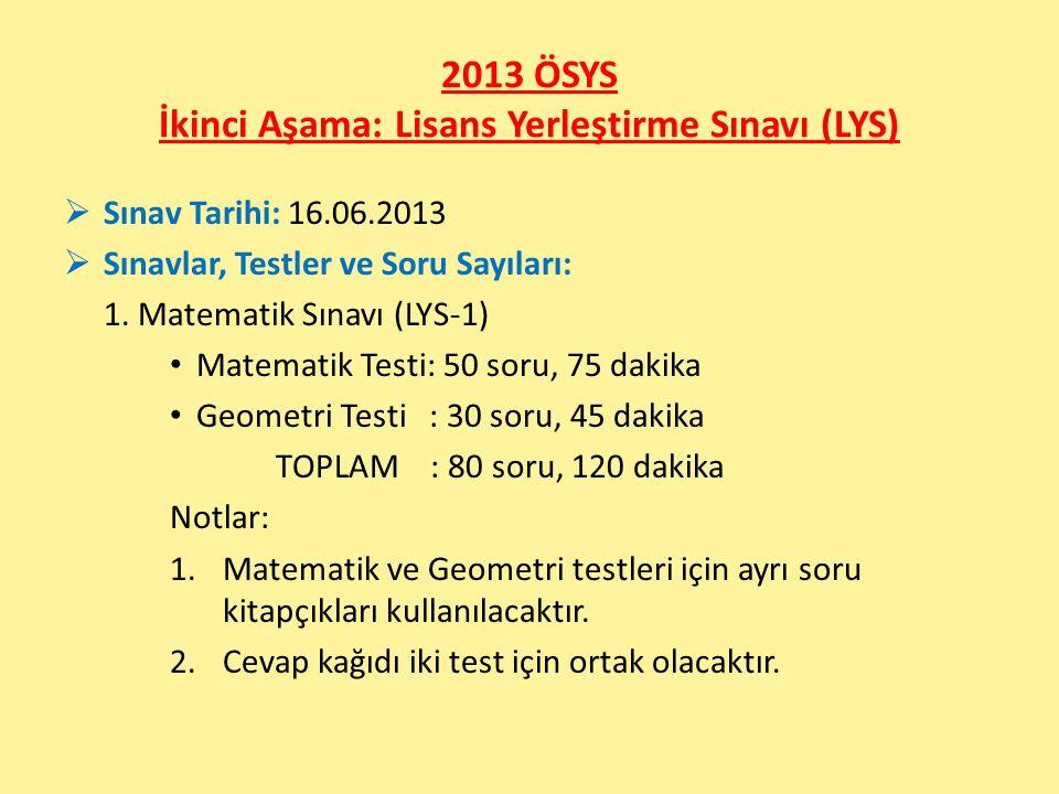 2013 ÖSYS İkinci Aşama: Lisans Yerleştirme Sınavı (LYS)  Sınav Tarihi: 16.06.2013  Sınavlar, Testler ve Soru Sayıları: 1.