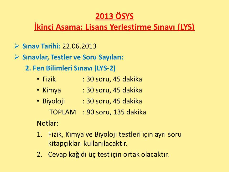 2013 ÖSYS İkinci Aşama: Lisans Yerleştirme Sınavı (LYS)  Sınav Tarihi: 22.06.2013  Sınavlar, Testler ve Soru Sayıları: 2. Fen Bilimleri Sınavı (LYS-