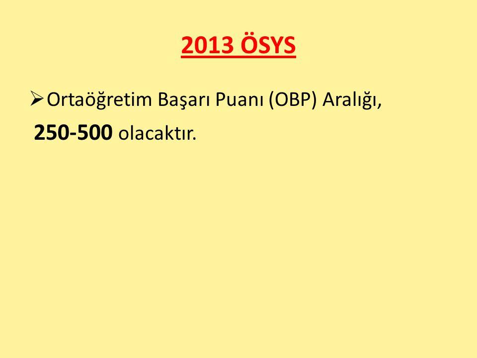2013 ÖSYS  Ortaöğretim Başarı Puanı (OBP) Aralığı, 250-500 olacaktır.