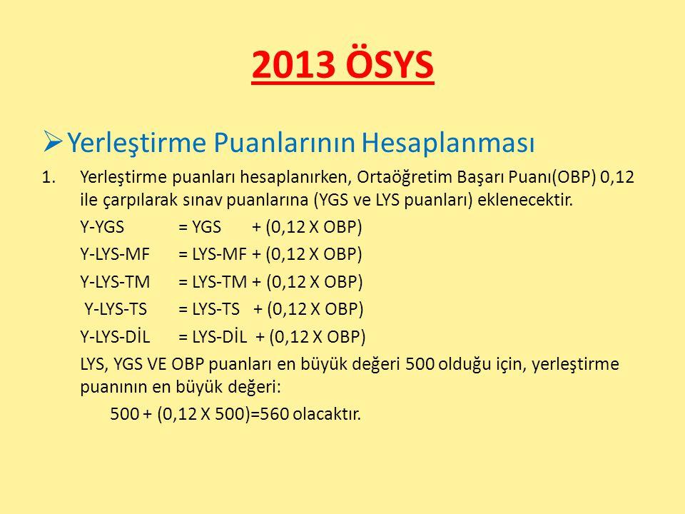 2013 ÖSYS  Yerleştirme Puanlarının Hesaplanması 1.Yerleştirme puanları hesaplanırken, Ortaöğretim Başarı Puanı(OBP) 0,12 ile çarpılarak sınav puanlarına (YGS ve LYS puanları) eklenecektir.