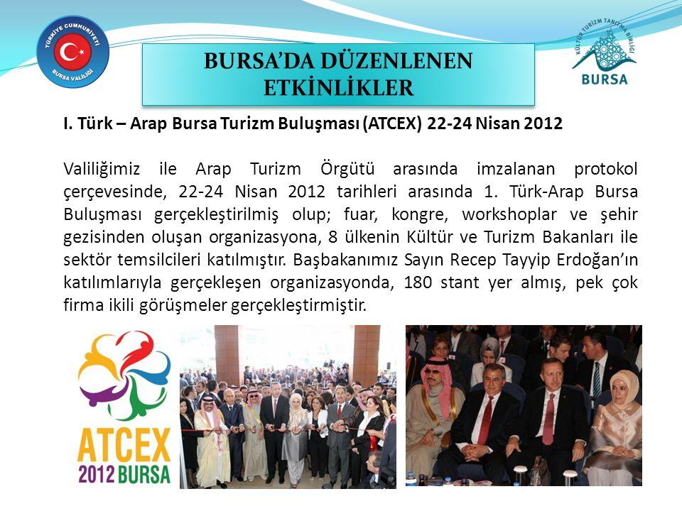 I. Türk – Arap Bursa Turizm Buluşması (ATCEX) 22-24 Nisan 2012 Valiliğimiz ile Arap Turizm Örgütü arasında imzalanan protokol çerçevesinde, 22-24 Nisa