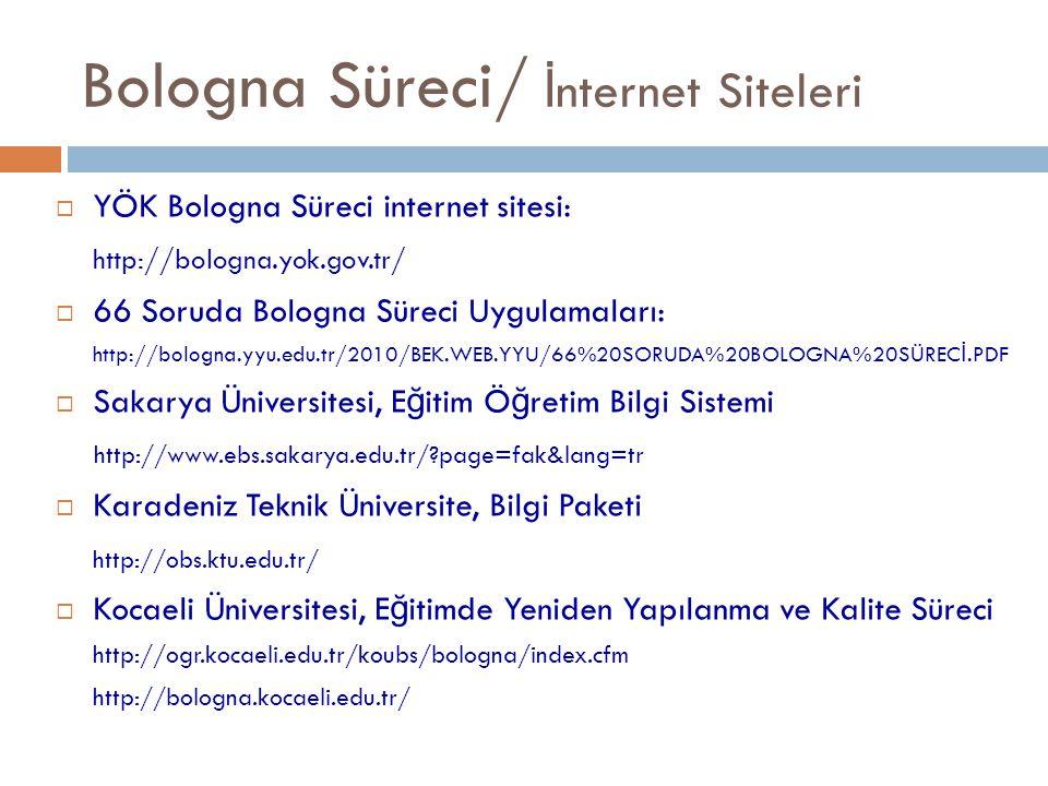  YÖK Bologna Süreci internet sitesi: http://bologna.yok.gov.tr/  66 Soruda Bologna Süreci Uygulamaları: http://bologna.yyu.edu.tr/2010/BEK.WEB.YYU/6
