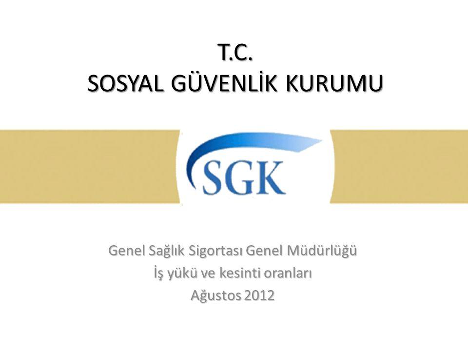 T.C. SOSYAL GÜVENLİK KURUMU Genel Sağlık Sigortası Genel Müdürlüğü İş yükü ve kesinti oranları Ağustos 2012