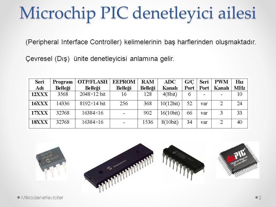 Microchip PIC denetleyici ailesi Mikrodenetleyiciler2 (Peripheral Interface Controller) kelimelerinin baş harflerinden oluşmaktadır. Çevresel (Dış) ün