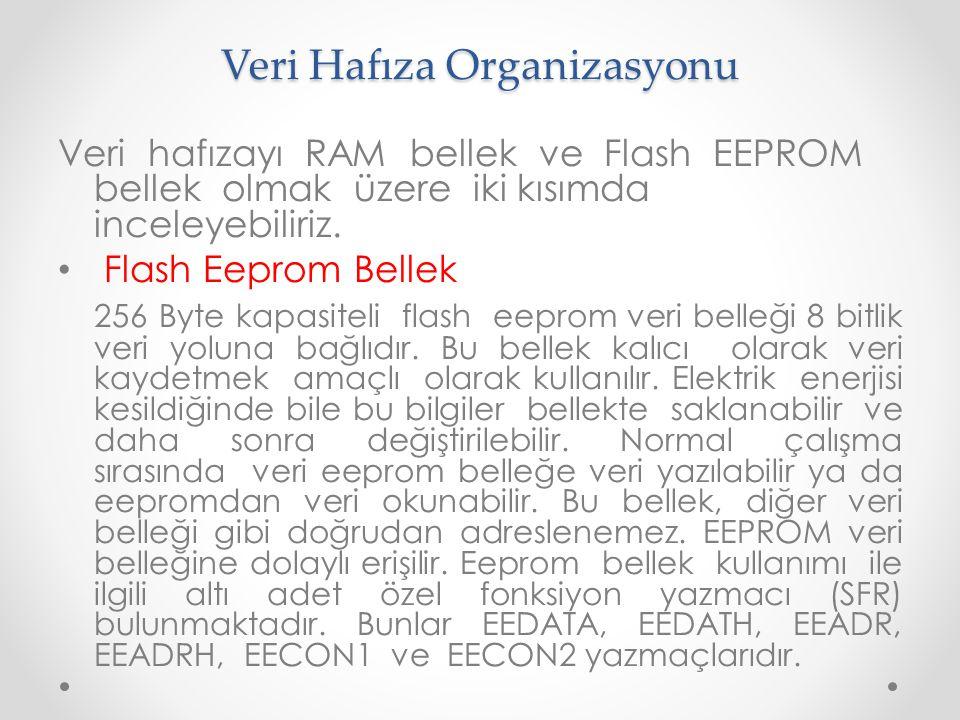 Veri Hafıza Organizasyonu Veri hafızayı RAM bellek ve Flash EEPROM bellek olmak üzere iki kısımda inceleyebiliriz. Flash Eeprom Bellek 256 Byte kapasi