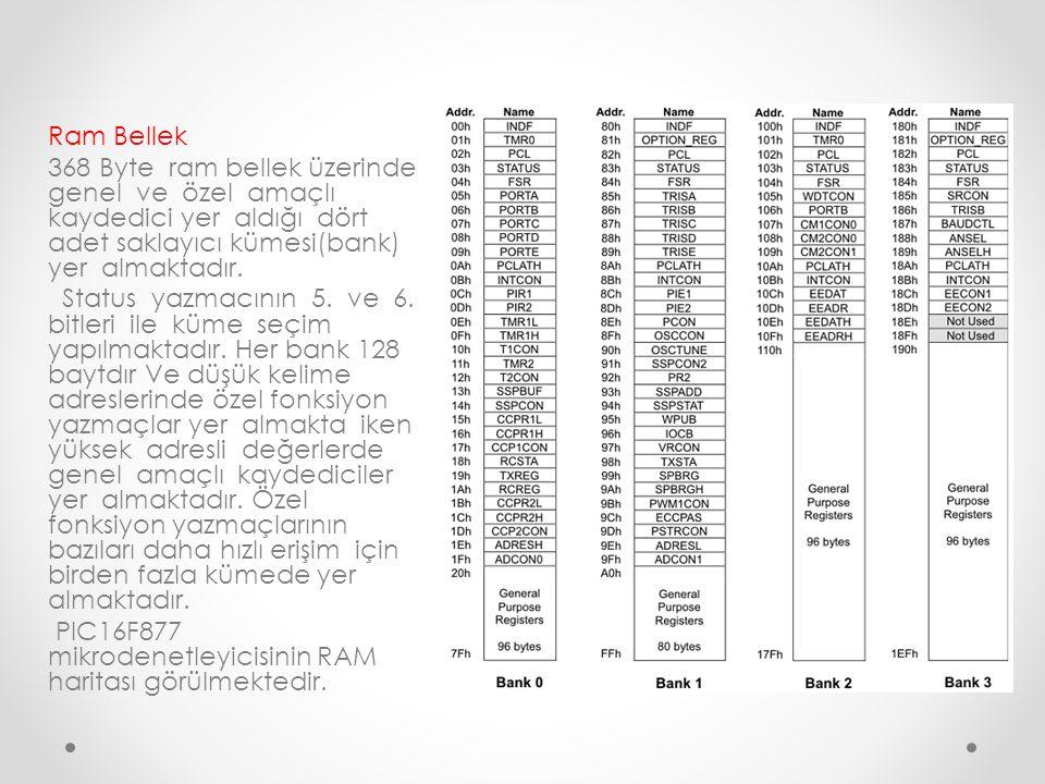 Ram Bellek 368 Byte ram bellek üzerinde genel ve özel amaçlı kaydedici yer aldığı dört adet saklayıcı kümesi(bank) yer almaktadır. Status yazmacının 5