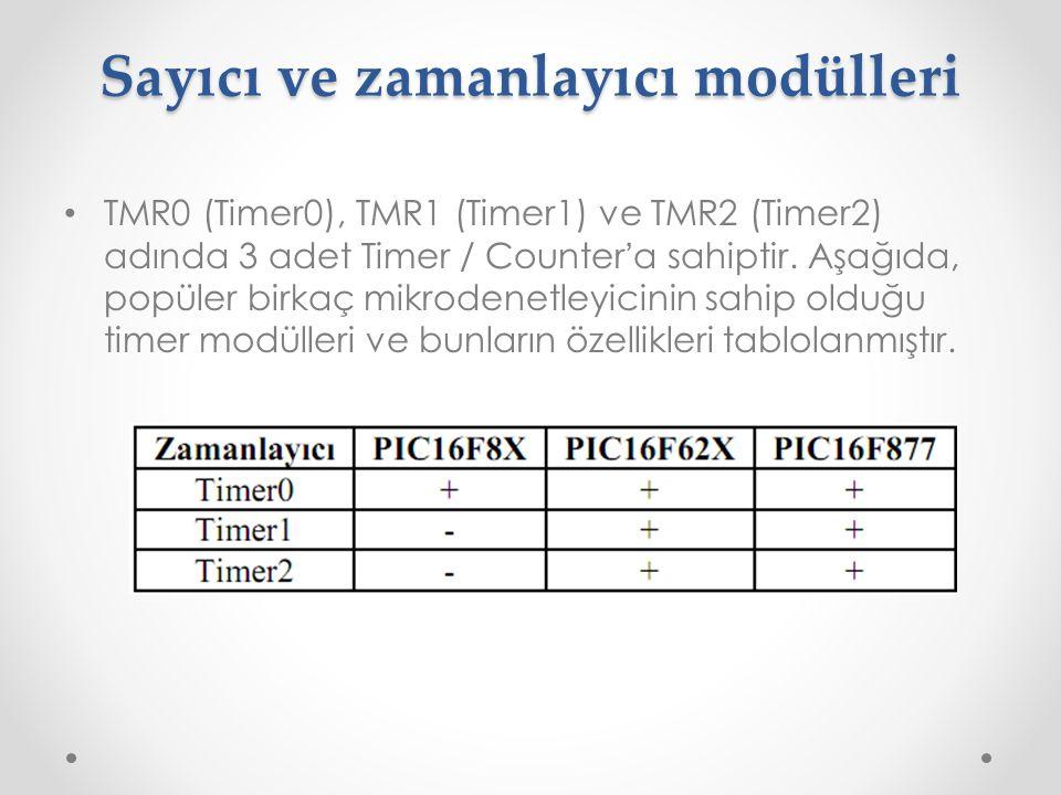 Sayıcı ve zamanlayıcı modülleri TMR0 (Timer0), TMR1 (Timer1) ve TMR2 (Timer2) adında 3 adet Timer / Counter ' a sahiptir. Aşağıda, popüler birkaç mikr