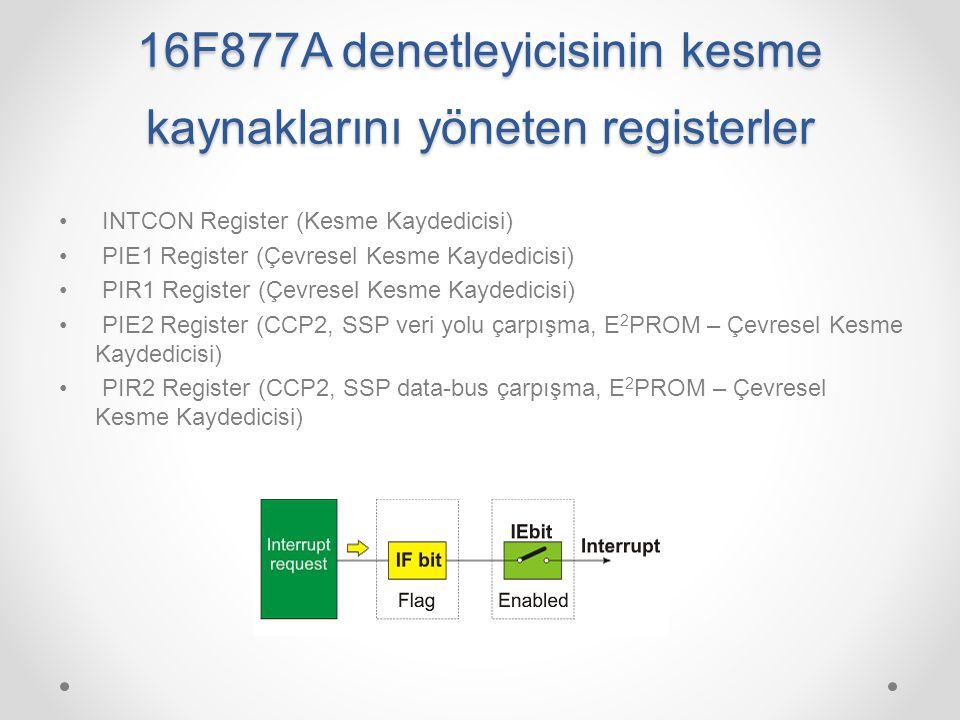 16F877A denetleyicisinin kesme kaynaklarını yöneten registerler INTCON Register (Kesme Kaydedicisi) PIE1 Register (Çevresel Kesme Kaydedicisi) PIR1 Re
