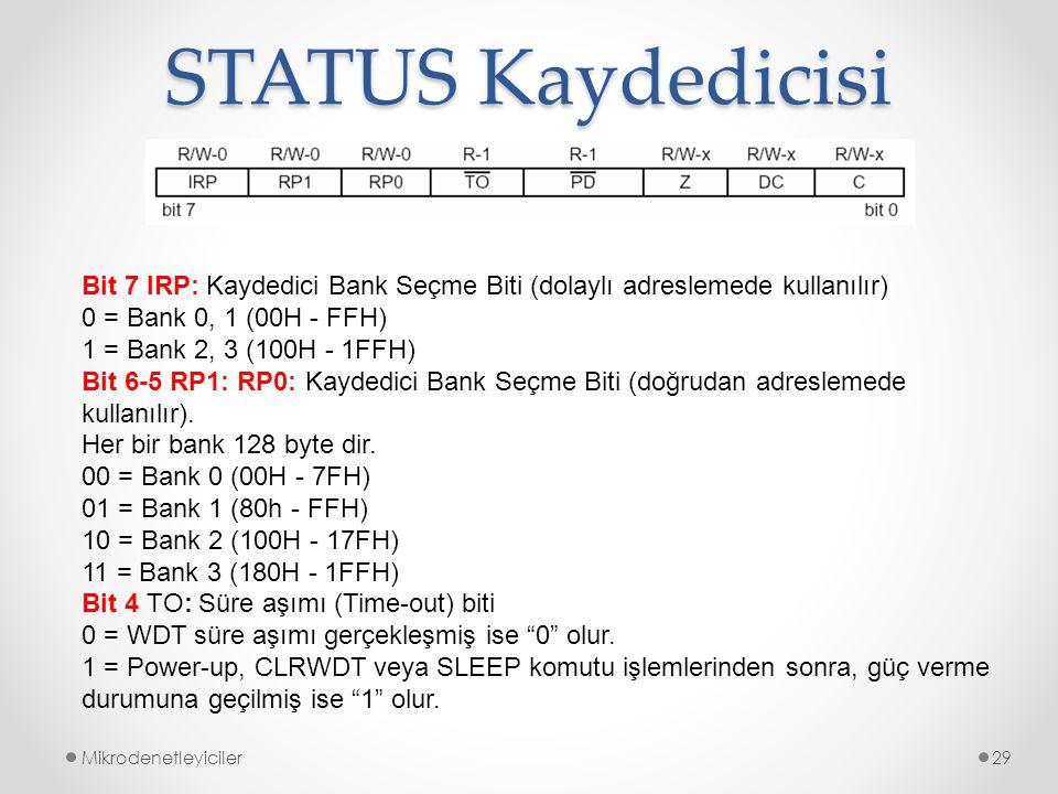 STATUS Kaydedicisi Mikrodenetleyiciler29 Bit 7 IRP: Kaydedici Bank Seçme Biti (dolaylı adreslemede kullanılır) 0 = Bank 0, 1 (00H - FFH) 1 = Bank 2, 3