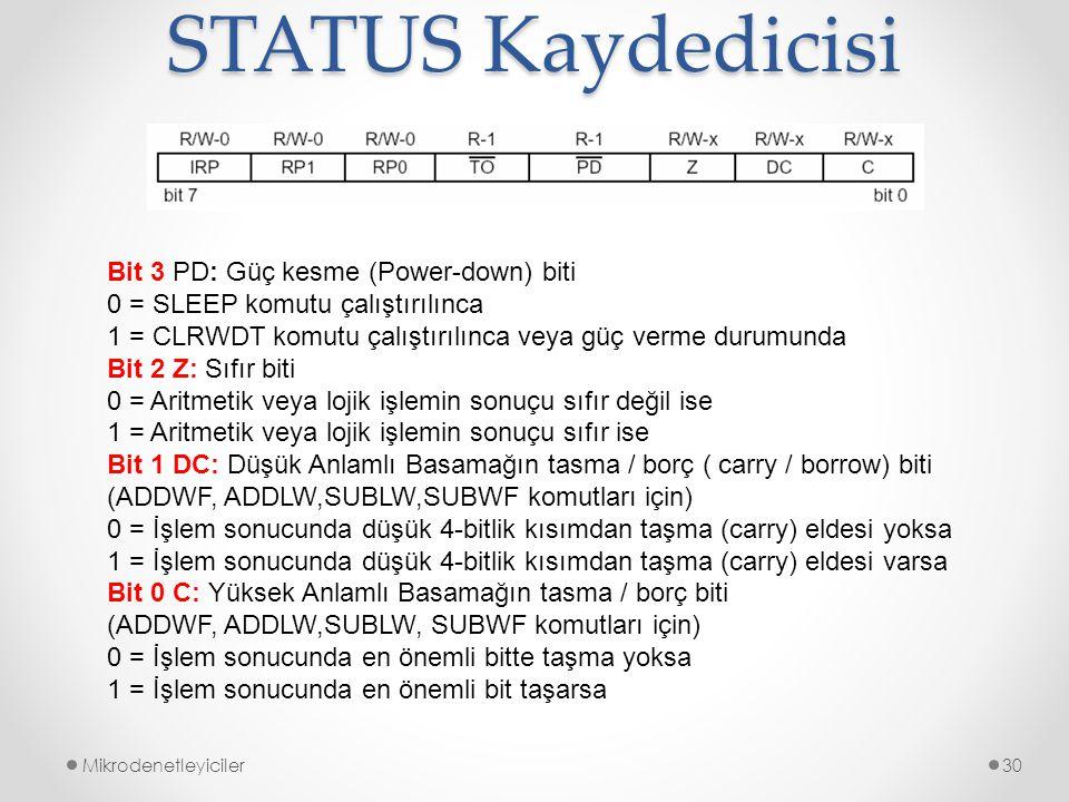 STATUS Kaydedicisi Mikrodenetleyiciler30 Bit 3 PD: Güç kesme (Power-down) biti 0 = SLEEP komutu çalıştırılınca 1 = CLRWDT komutu çalıştırılınca veya g