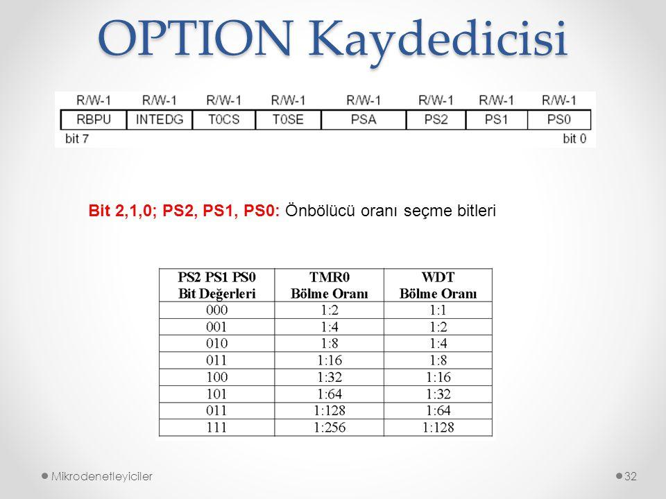 OPTION Kaydedicisi Mikrodenetleyiciler32 Bit 2,1,0; PS2, PS1, PS0: Önbölücü oranı seçme bitleri