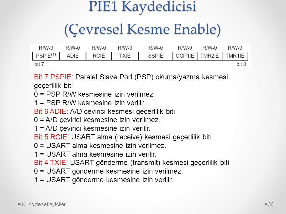 Mikrodenetleyiciler35 Bit 7 PSPIE: Paralel Slave Port (PSP) okuma/yazma kesmesi geçerlilik biti 0 = PSP R/W kesmesine izin verilmez. 1 = PSP R/W kesme
