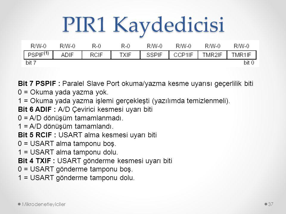 PIR1 Kaydedicisi Mikrodenetleyiciler37 Bit 7 PSPIF : Paralel Slave Port okuma/yazma kesme uyarısı geçerlilik biti 0 = Okuma yada yazma yok. 1 = Okuma