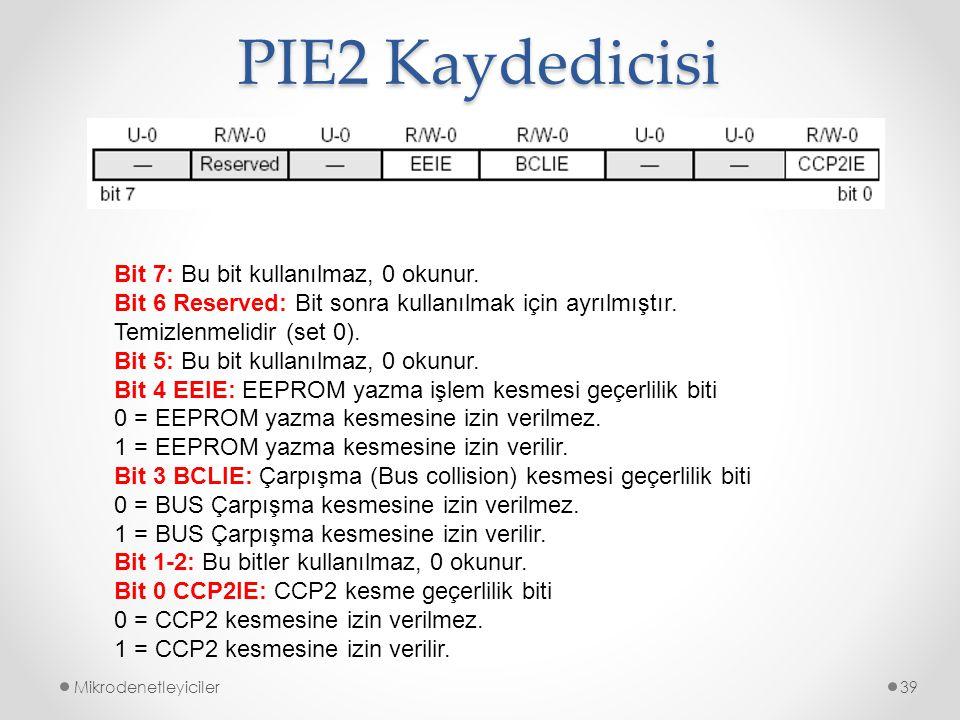 PIE2 Kaydedicisi Mikrodenetleyiciler39 Bit 7: Bu bit kullanılmaz, 0 okunur. Bit 6 Reserved: Bit sonra kullanılmak için ayrılmıştır. Temizlenmelidir (s