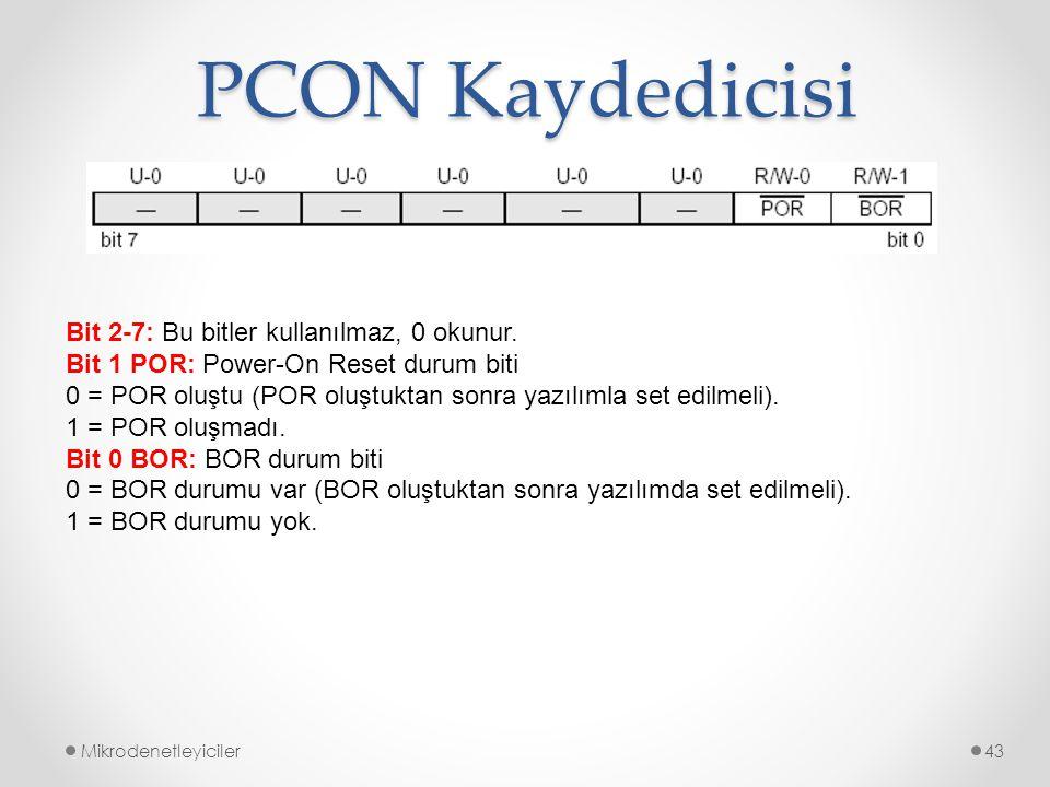 PCON Kaydedicisi Mikrodenetleyiciler43 Bit 2-7: Bu bitler kullanılmaz, 0 okunur. Bit 1 POR: Power-On Reset durum biti 0 = POR oluştu (POR oluştuktan s