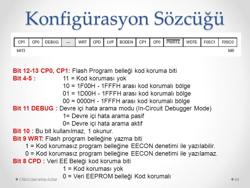 Konfigürasyon Sözcüğü Mikrodenetleyiciler44 Bit 12-13 CP0, CP1: Flash Program belleği kod koruma biti Bit 4-5 : 11 = Kod koruması yok 10 = 1F00H - 1FF
