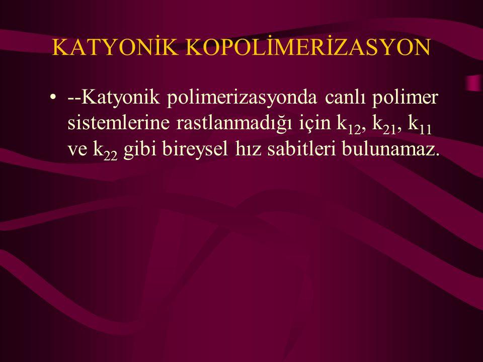 KATYONİK KOPOLİMERİZASYON --Katyonik polimerizasyonda canlı polimer sistemlerine rastlanmadığı için k 12, k 21, k 11 ve k 22 gibi bireysel hız sabitle