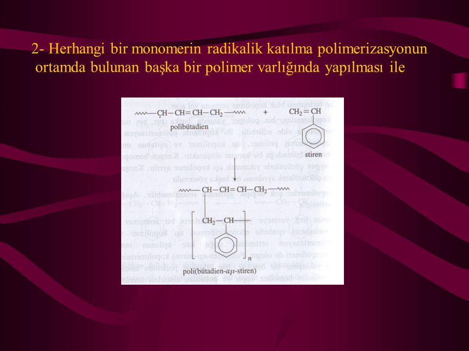 2- Herhangi bir monomerin radikalik katılma polimerizasyonun ortamda bulunan başka bir polimer varlığında yapılması ile