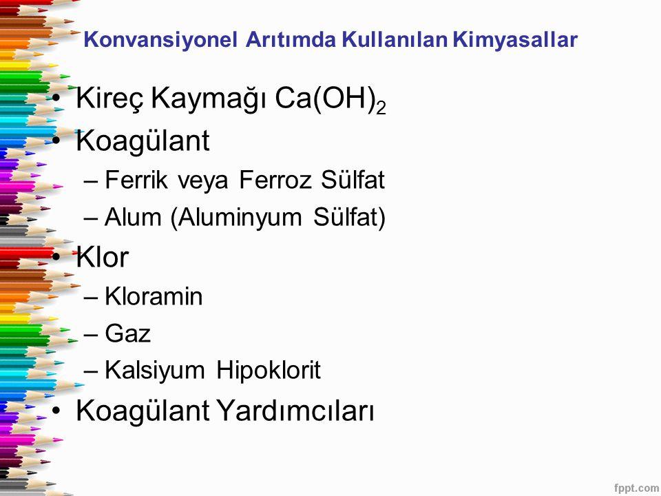 Konvansiyonel Arıtımda Kullanılan Kimyasallar Kireç Kaymağı Ca(OH) 2 Koagülant –Ferrik veya Ferroz Sülfat –Alum (Aluminyum Sülfat) Klor –Kloramin –Gaz