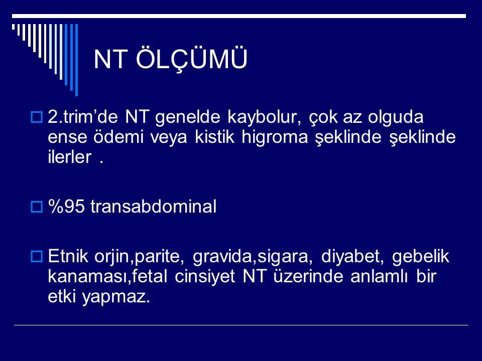 NT ÖLÇÜMÜ  2.trim'de NT genelde kaybolur, çok az olguda ense ödemi veya kistik higroma şeklinde şeklinde ilerler.  %95 transabdominal  Etnik orjin,