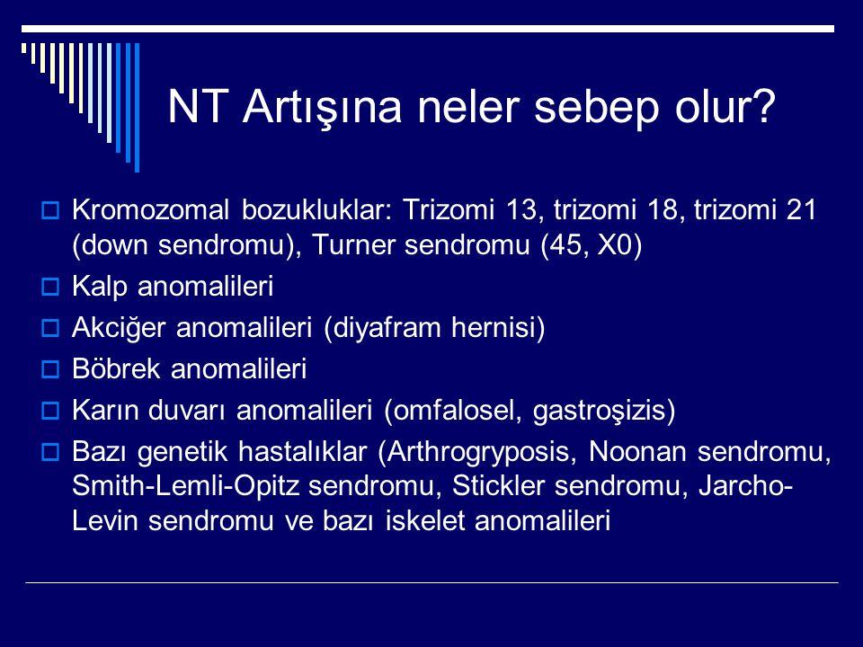 NT Artışına neler sebep olur?  Kromozomal bozukluklar: Trizomi 13, trizomi 18, trizomi 21 (down sendromu), Turner sendromu (45, X0)  Kalp anomaliler