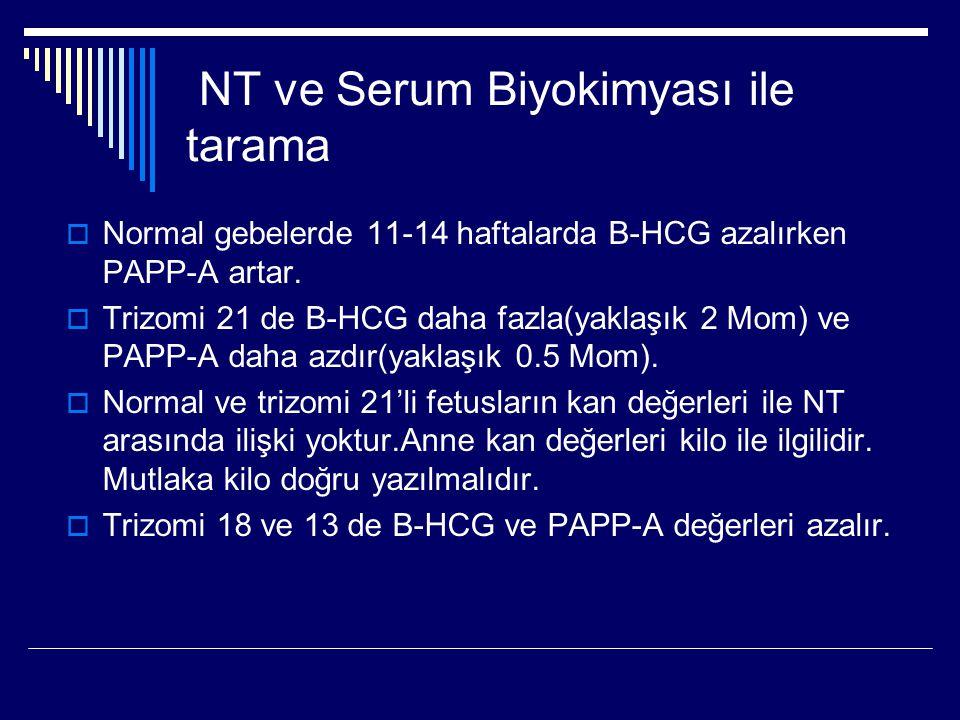NT ve Serum Biyokimyası ile tarama  Normal gebelerde 11-14 haftalarda B-HCG azalırken PAPP-A artar.  Trizomi 21 de B-HCG daha fazla(yaklaşık 2 Mom)