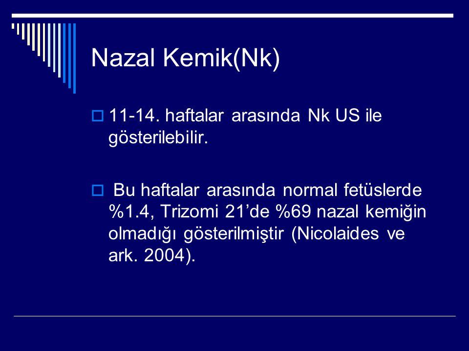 Nazal Kemik(Nk)  11-14. haftalar arasında Nk US ile gösterilebilir.  Bu haftalar arasında normal fetüslerde %1.4, Trizomi 21'de %69 nazal kemiğin ol