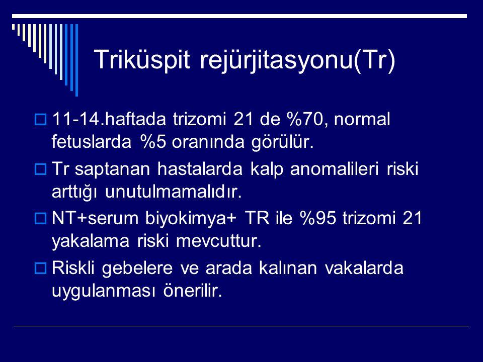 Triküspit rejürjitasyonu(Tr)  11-14.haftada trizomi 21 de %70, normal fetuslarda %5 oranında görülür.  Tr saptanan hastalarda kalp anomalileri riski