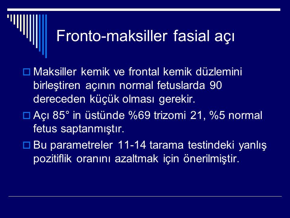 Fronto-maksiller fasial açı  Maksiller kemik ve frontal kemik düzlemini birleştiren açının normal fetuslarda 90 dereceden küçük olması gerekir.  Açı