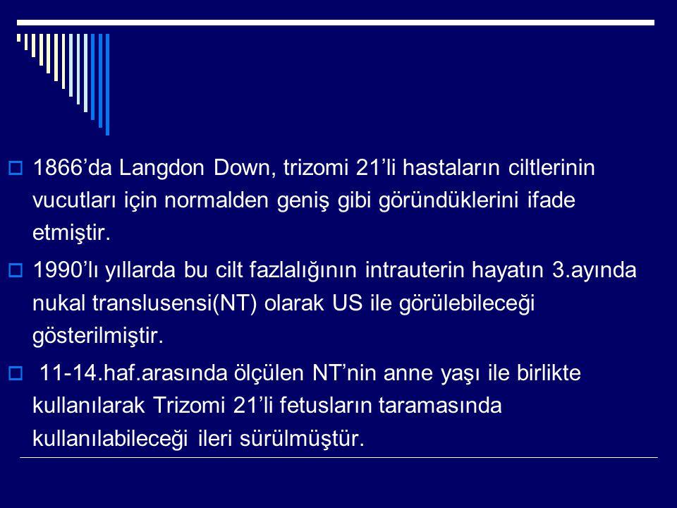  1866'da Langdon Down, trizomi 21'li hastaların ciltlerinin vucutları için normalden geniş gibi göründüklerini ifade etmiştir.  1990'lı yıllarda bu