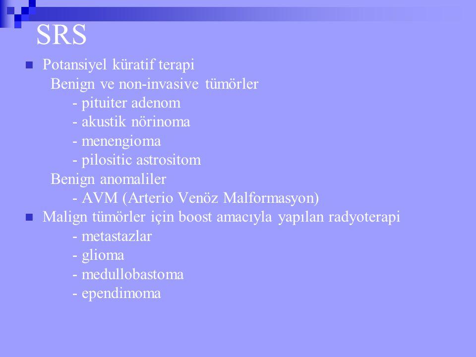 SRS Potansiyel küratif terapi Benign ve non-invasive tümörler - pituiter adenom - akustik nörinoma - menengioma - pilositic astrositom Benign anomalil
