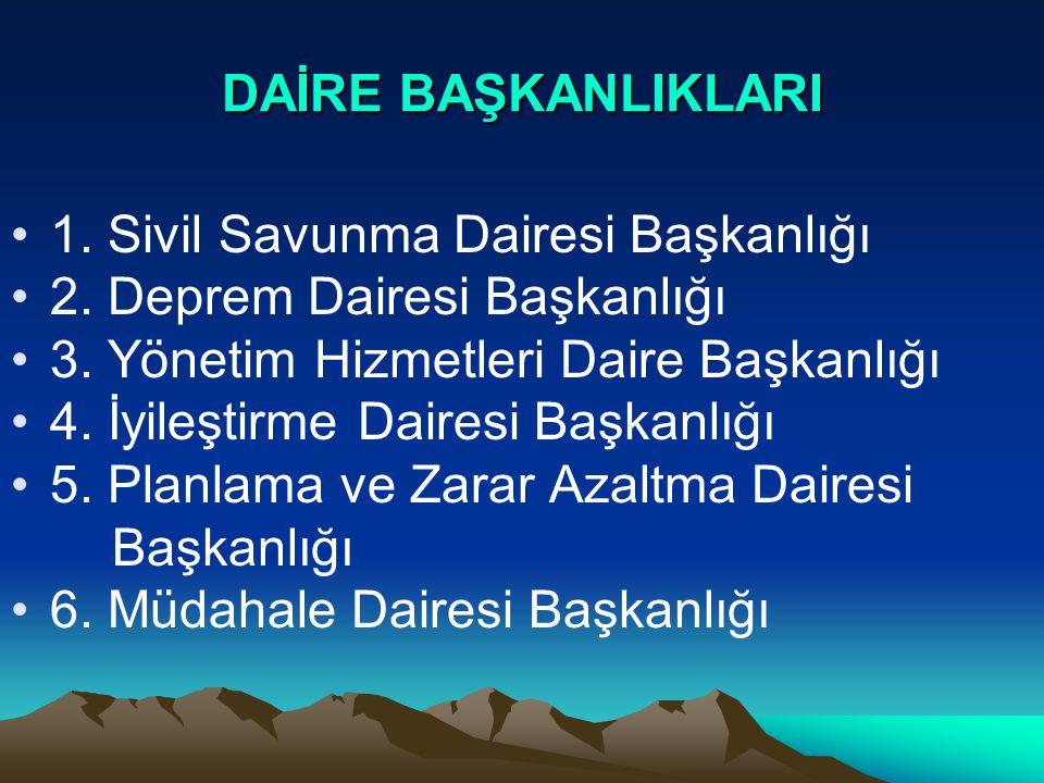 DAİRE BAŞKANLIKLARI 1. Sivil Savunma Dairesi Başkanlığı 2.