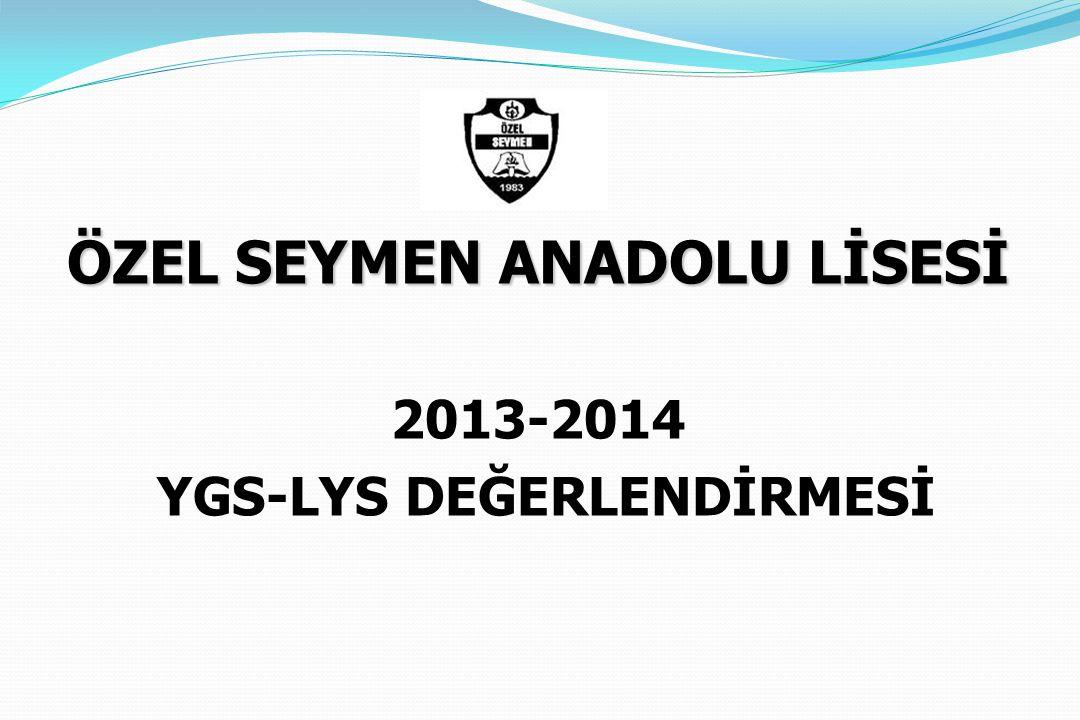 ÖZEL SEYMEN ANADOLU LİSESİ 2013-2014 YGS-LYS DEĞERLENDİRMESİ