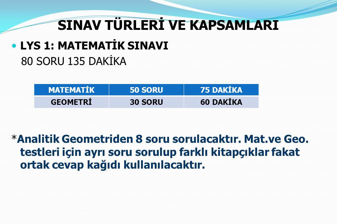 SINAV TÜRLERİ VE KAPSAMLARI LYS 1: MATEMATİK SINAVI 80 SORU 135 DAKİKA *Analitik Geometriden 8 soru sorulacaktır. Mat.ve Geo. testleri için ayrı soru