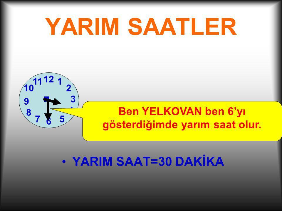 TAM SAATLER 1 2 7 3 6 12 4 5 11 10 8 9.Benim adım YELKOVAN.Ben 12'yi gösterdiğimde tam saat olur.